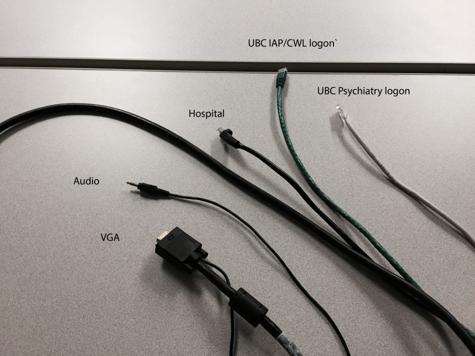 Presenters laptop cable includes VGA, miniphone audio and several networks