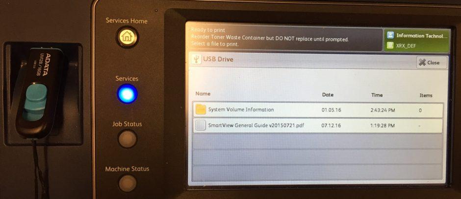 Xerox select USB file to print