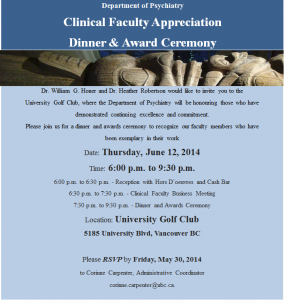 Department Clinical Faculty Appreciation & Awards Ceremony