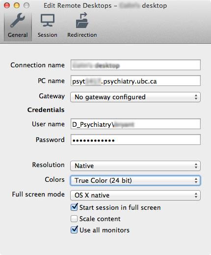 MS Remote Desktop on OS X