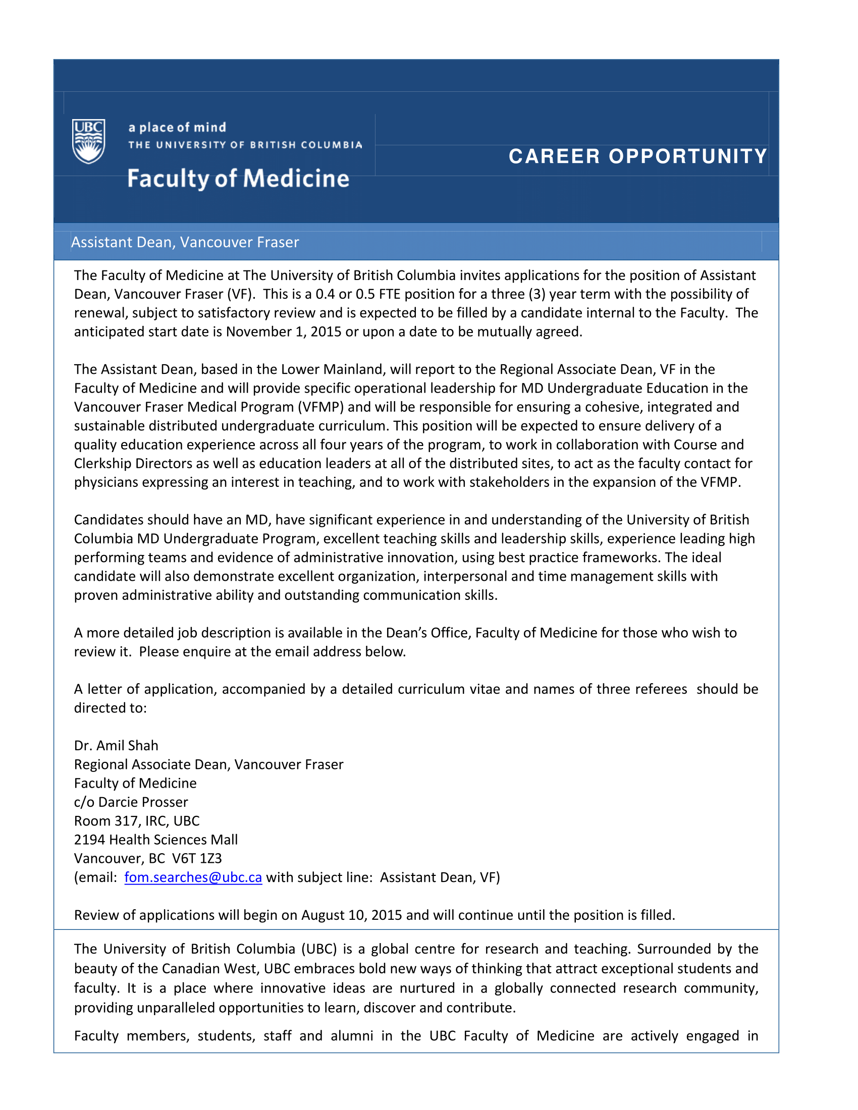 Page 11 faculty of medicine career opportunity assistant dean 1betcityfo Choice Image