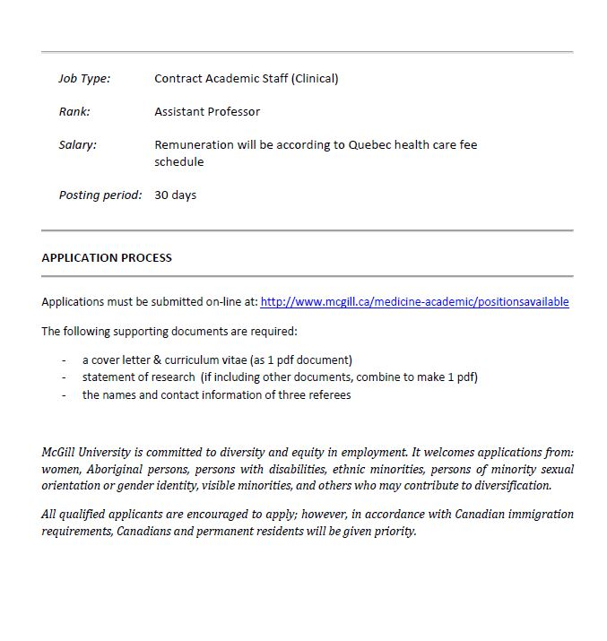 Seeking Applications For Assistant Professor Clinical Department Of Psychiatry McGill University