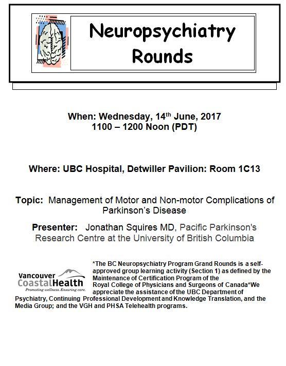 Invite To BC Neuropsychiatry Rounds Wednesday June 14th