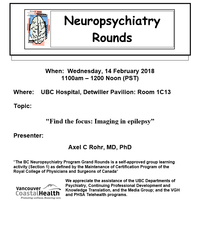 fe54c01be BC Neuropsychiatry Rounds Wednesday February 14th