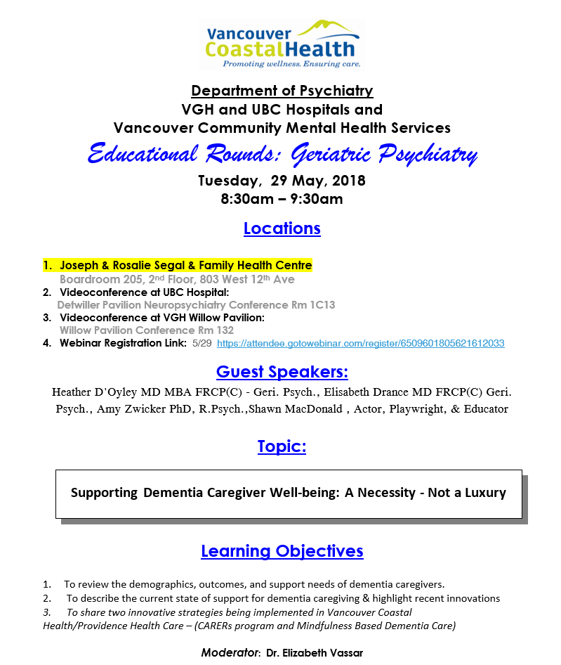 0c82a500 Department of Psychiatry Geriatric Rounds Tuesday May 29th