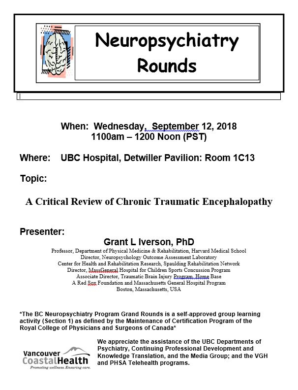 BCNP Grand Rounds Wednesday September 12th | Department of