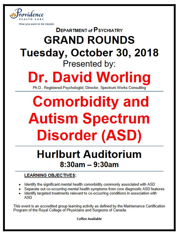 7006665a7 Date Correction: Next Tuesday's SPH Department of Psychiatry Grand Rounds  Tuesday, October 30, 2018