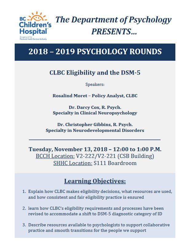37af1c2784 BCCH Psychology Rounds Tuesday November 13th